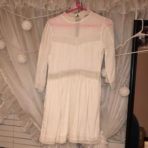 Abercrombie & Fitch white laced mock neck dress